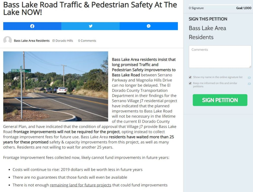 Bass Lake Road Improvement Petition